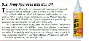 U.S. Army Approves G96 Synthetic CLP Gun Oil Shooting Industry Magazine May 2010